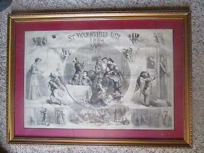 ST. VALENTINES DAY DURING 1864 CIVIL WAR, CUPID, DEVIL in Beautiful Frame