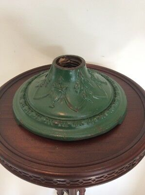 Antique Cast Iron Green Paint Lamp Base Christmas Tree Stand Marked Colonial 10""