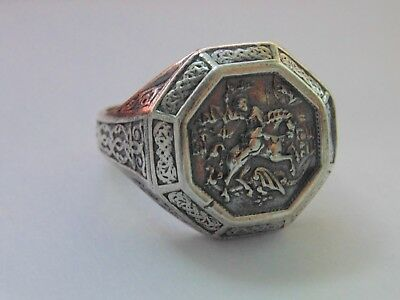 Vintage Religious Men Catholics Orthodox Signet Sterling Silver Ring St George
