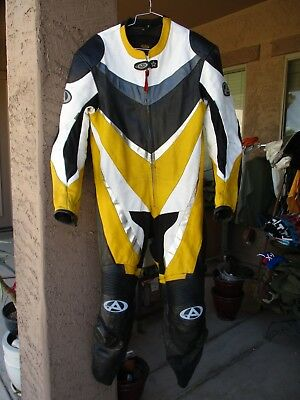 AGV Sport Leather Motorcycle Race Coverall, Racing Suit, LARGE, Yellow