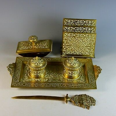 Antique Bronze Gilded Desk Set ( 4 Pieces ) Germany Circa 1920