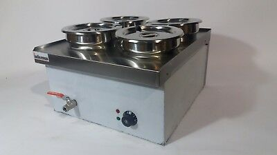 Commercial Wet BAIN MARIE with TAP  4x7L Round Pots, Electric, food hot holding