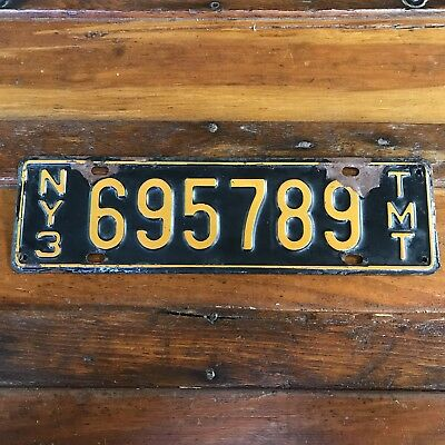 Vintage New York TMT License Plate Empire State TRUCK MILEAGE TAX Tag 695789