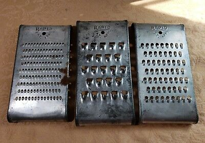 Vintage RAPID Set of 3 Curved Metal Graters Shredders Cutters SLAW CHEESE VEGGIE