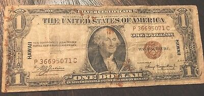 """1935A $1 Brown Seal """"HAWAII"""" Emergency WWII SILVER Certificate Currency"""