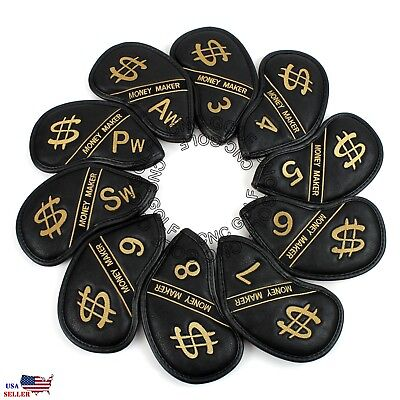 10 PCS PU Leather Golf Iron Head Covers Club Putter Headcovers [MONEY MAKER]