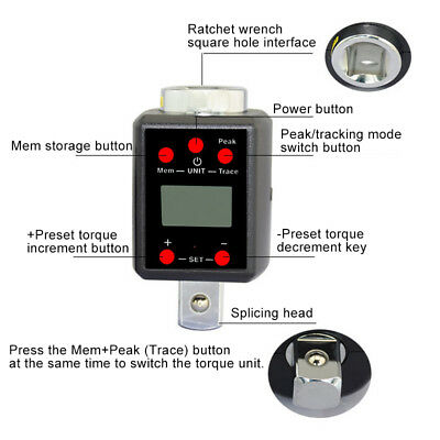 """1/2"""" 3/4"""" Digital LED High Torque Wrench Adapter Drive Microtorque Portable Tool"""