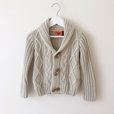 Boys Beige Cable Knit Cardigan Jacket Size 2 ***Hardly Worn, Great Condition****