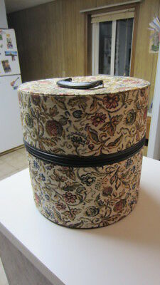 Vintage Tapestry Hat Box / Wig Box, 13 1/2 in. Tall & 13 1/4 in. Across the Top