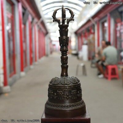 Old Temple Buddhism Pure Copper Bronze Vajra Bell Divine Focus Hand Bell Nepal
