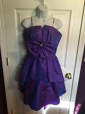 Vintage 80s Prom Party Formal Dress Womens Size 9 10 Purple Darcy