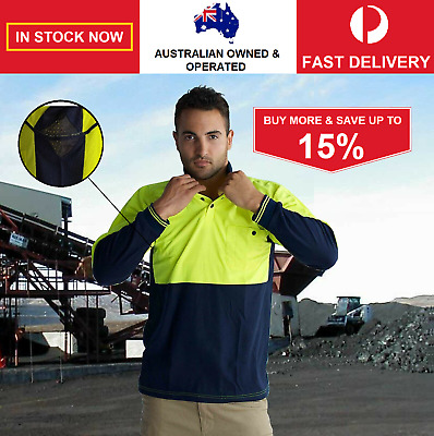 Hi-Vis Fluro Cotton Blend Safety Polo Shirt Long Sleeve Air Vents Vented