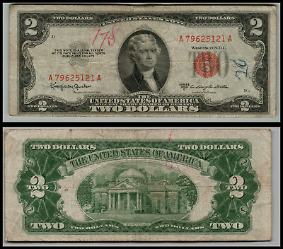 1953C $2 Dollar Bill Old Us Note Legal Tender Paper Money  Red Seal  Lot 0679