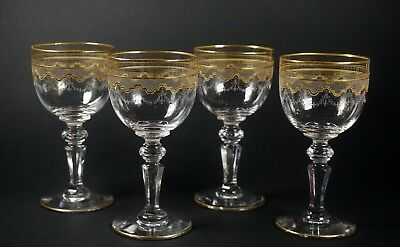 "Set of 4 Antique St Louis Gold Crystal Stem 5"" Tall Wine Glasses - Beethoven"