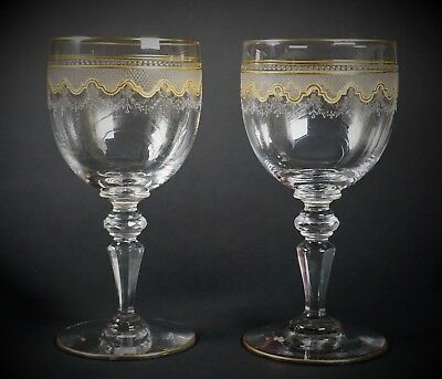 Set of 2 Antique St Louis Gold Crystal Stem WATER Glasses - Beethoven