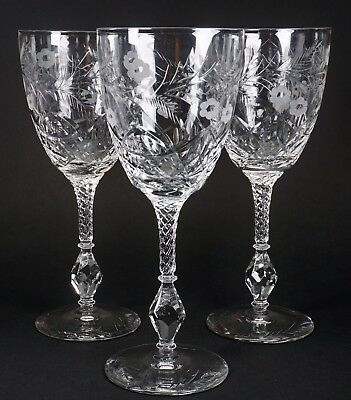 Libbey Rock Sharpe Antique Cut Glass Cranbook Set of Three Water Glasses Stems
