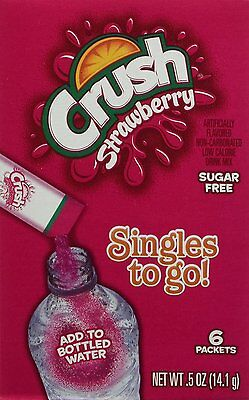 6 BOXES OF Strawberry Crush Singles to Go Sugar Free Drink Mix .5 oz -36 PACKS