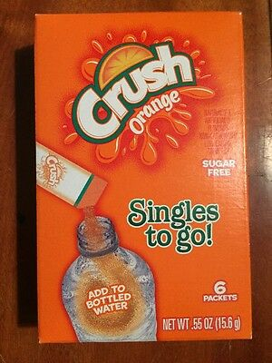 12 BOXES OF Orange Crush Singles to Go Sugar Free Drink Mix .55 oz (72 PACKS)