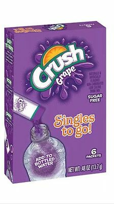 Crush Lot of 10 Boxes/60 Packets Grape Crush Sugar Free Singles to go