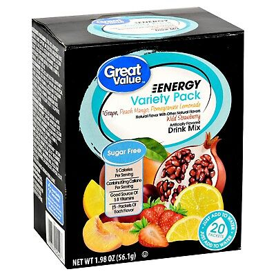 4 Boxes Of Great Value Sugar Free Low Calorie 20ct ENERGY Variety Pack Drink Mix