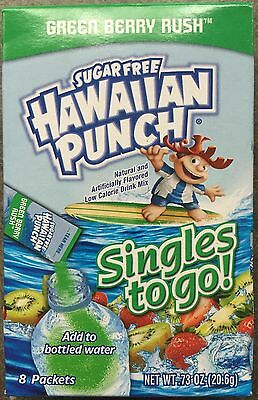 6 Boxes (48 Packets) Hawaiian Punch Singles To Go GREEN BERRY RUSH Sugar Free
