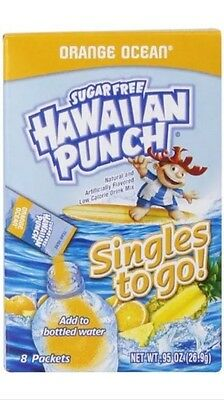 6 Boxes (48 Packets) Hawaiian Punch Singles To Go Orange Ocean Sugar Free