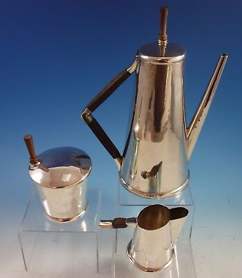 Sanborns Mexican Mexico Sterling Silver Coffee Set 3pc w/ Rosewood #7015 (#1972)