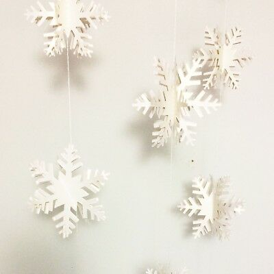 Snowflake garland, Christmas hanging decoration, white frozen winter party decor
