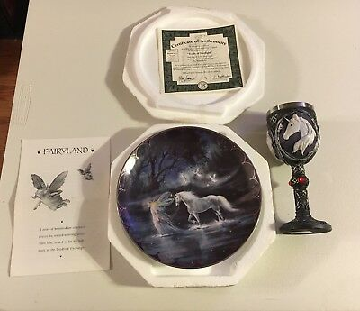 Trails of Starlight Fairyland Unicorn Plate Bradford Exchange W/ Chalice Bundle