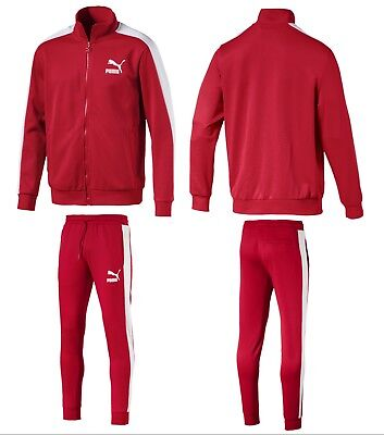 Men's Puma Casual Sport Gym Track Jacket &  Pants Tracksuits Classic T7 Red