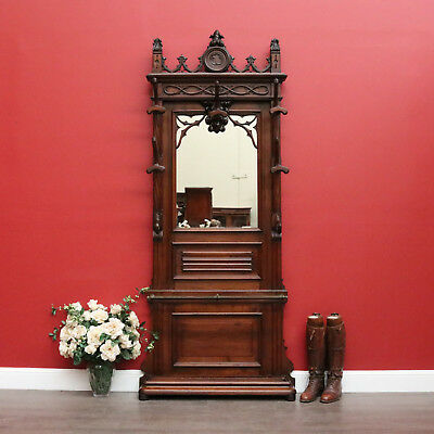Antique French Walnut Hall Stand with Mirror Back, Carved Gothic Church Features