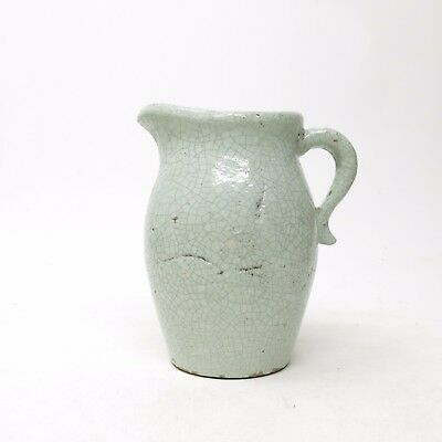 Vintage Chippy Crackle Glaze Seafoam Green Shabby Cottage Centerpiece Pitcher