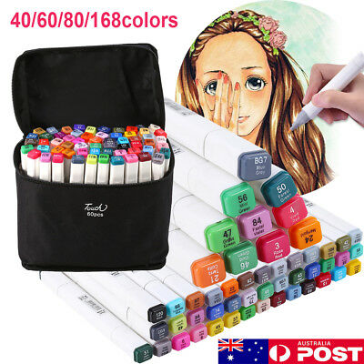 Touch New Marker Pen 80/40 Color Set Graphic Animation Art Sketch Twin Point+Bag