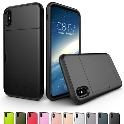 For iPhone XS MAX XR X 8 7 6Plus Armor Case with Hidden Credit Card Holder Cover