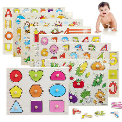 Kids Toddler Wooden Jigsaw Puzzle Baby Alphabet Letters Animal Learning Toys DIY