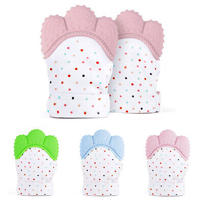 1/2X Baby Teething Mitten Silicone Mitt Infant Bite Training Glove BPA Free Safe