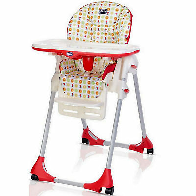 New Chicco Sunrise Polly Easy 4 Wheel Height Adjustable Reclining Highchair
