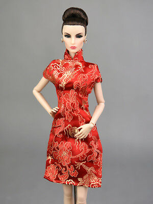 Fashion Royalty Classic Red Cheongsam Dress/Clothes/Gown For 11 in. Doll