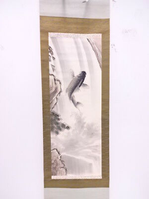 3832877: Japanese Wall Hanging Scroll / Hand Painted / Carp & Waterfall