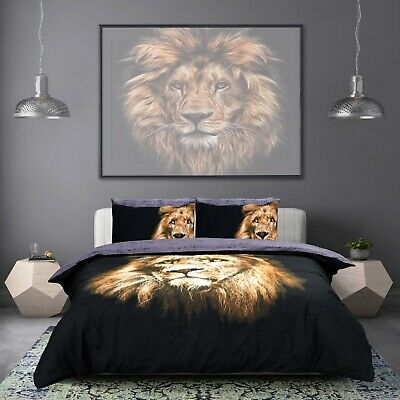 3D Animal Print Jungle Lion Duvet Quilt Cover Bed Set with Pillowcases All Sizes