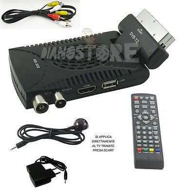 Decoder Mini Digitale Terrestre Scart Dvb-T2 180° Usb Hdmi Presa Scart Hd 333