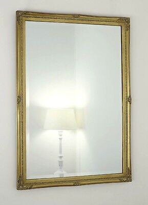 """Cannes Gold Shabby Chic Rectangle Vintage Wall Mirror 40"""" x 28"""" (100cm x 70cm)"""