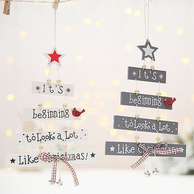 Christmas Wooden Pendant Door Ornaments Xmas Tree Hanging Home Party Decorations
