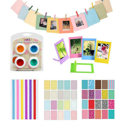For Fujifilm Instax Mini 8 9 Film Camera Filters + Stickers + Frames + Deco Kits