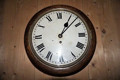 "Antique 1896 Fusee 8 Day Chain Driven Drop Dial Station Clock - 12"" Dial"