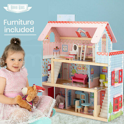 Wooden Doll House Girls Pretend Play Furniture 3 Level Large Toy Dollhouse Pink