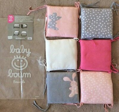 *  BABY BOUM Cot Bed Bumper Cushions Baby Girl Pink Grey White x 6 *