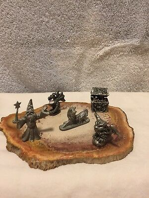 5 Pewter Mini Miniatures With Agate Slice