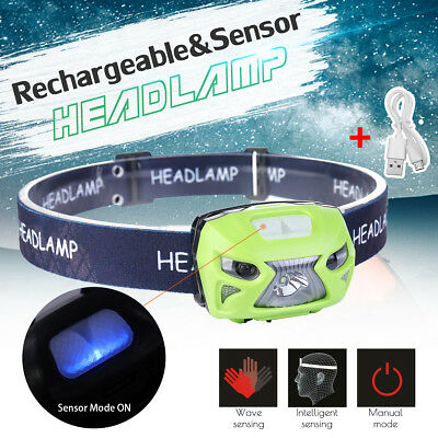 AU Super-bright LED Motion Sensor Head Lamp Torch Light USB Rechargeable Camping