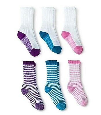 LOT OF 6 Pair Circo Girls Striped Solid Color Cushioned Crew Socks - Shoe 3-10